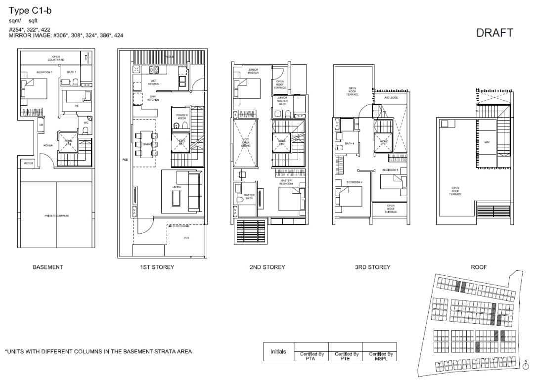 C1b Corner-Terrace Floor Plan