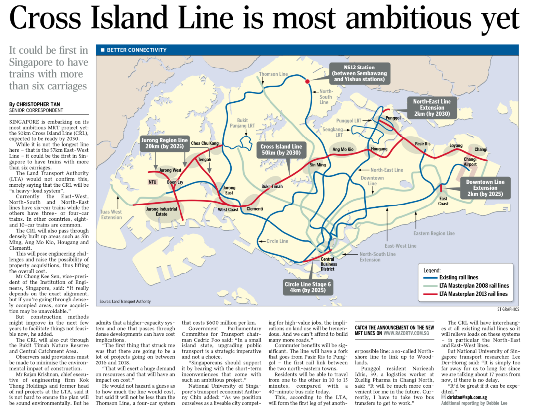 May 2016 - Straits Times news article regarding the upcoming cross-island-line